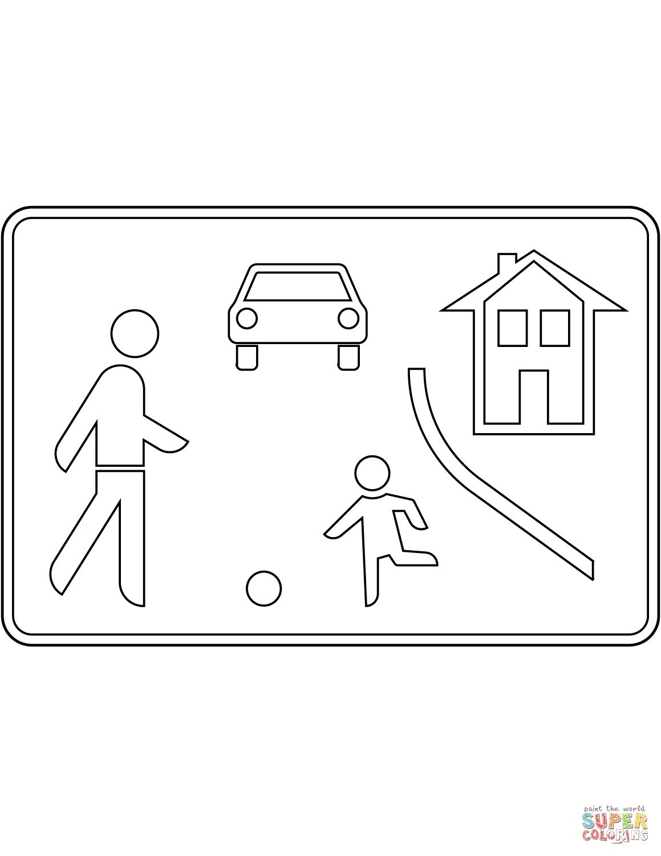 Ausmalbild Verkehrszeichen in Deutschland Beginn eines