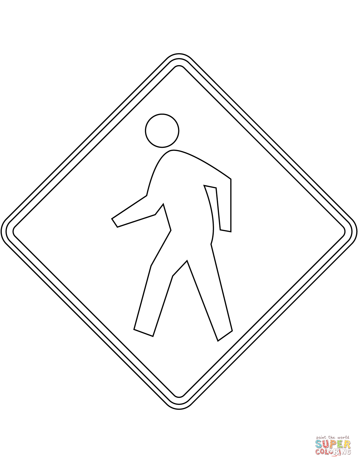 Pedestrian Crossing Sign In The Usa Coloring Page