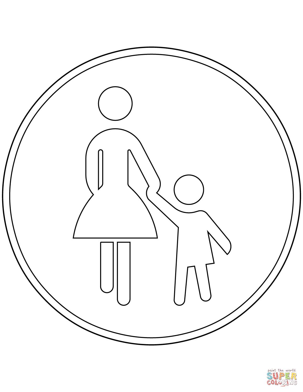 Ausmalbild Verkehrszeichen in Deutschland Gehweg