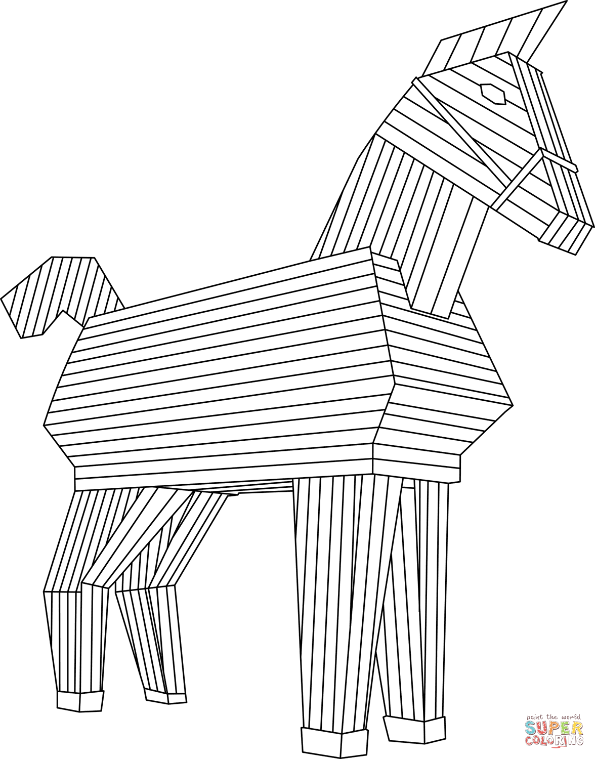 Trojan Horse Coloring Sheet Coloring Pages