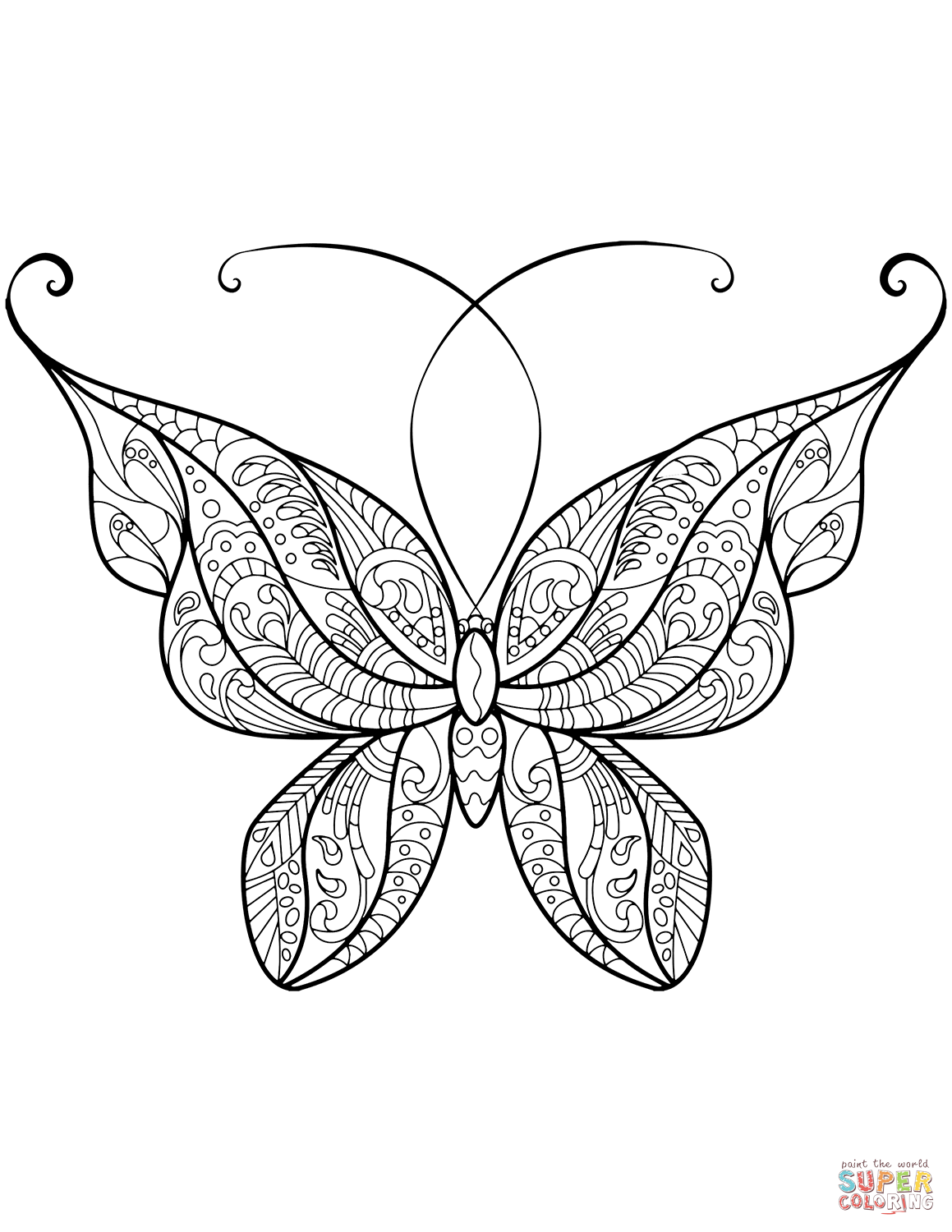 Zentangle Butterfly Coloring Page