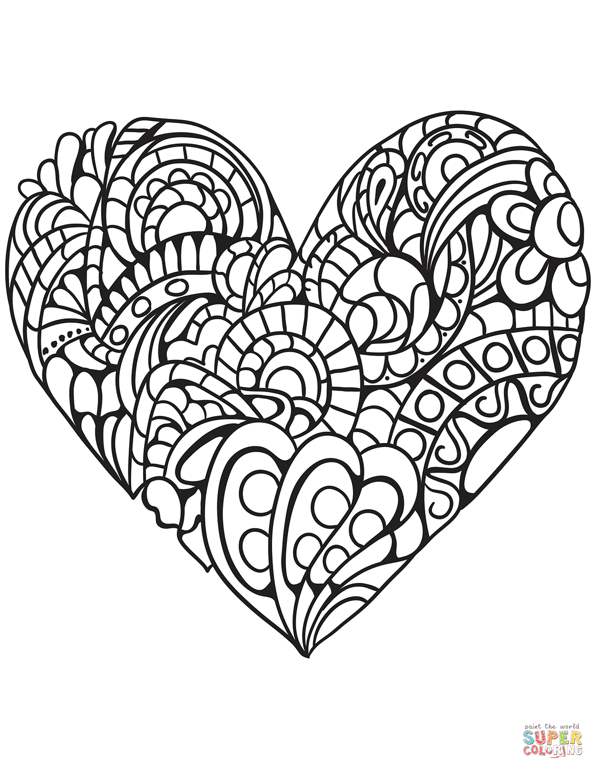 Zentangle Heart Coloring Page