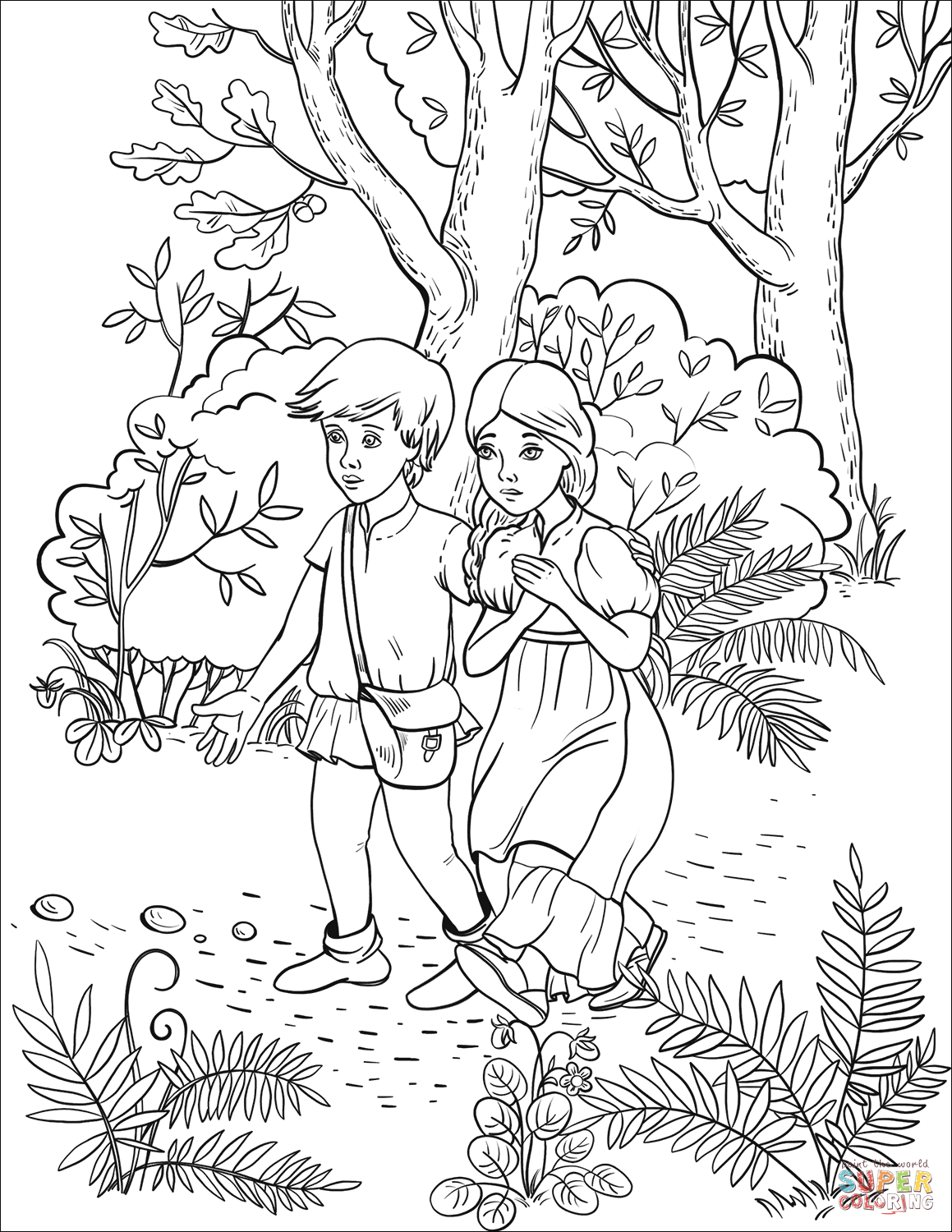 Hansel with his Sister Follow the Pebbles in the Forest