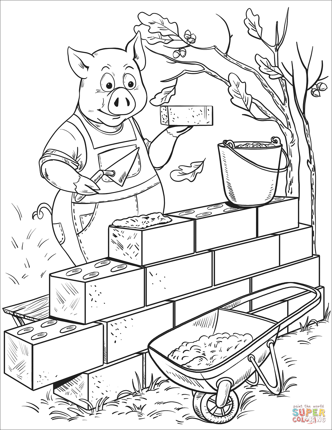 Penny Pig Builds A Brick House Coloring Page