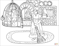 Hansel is in Cell while Gretel is at Work coloring page