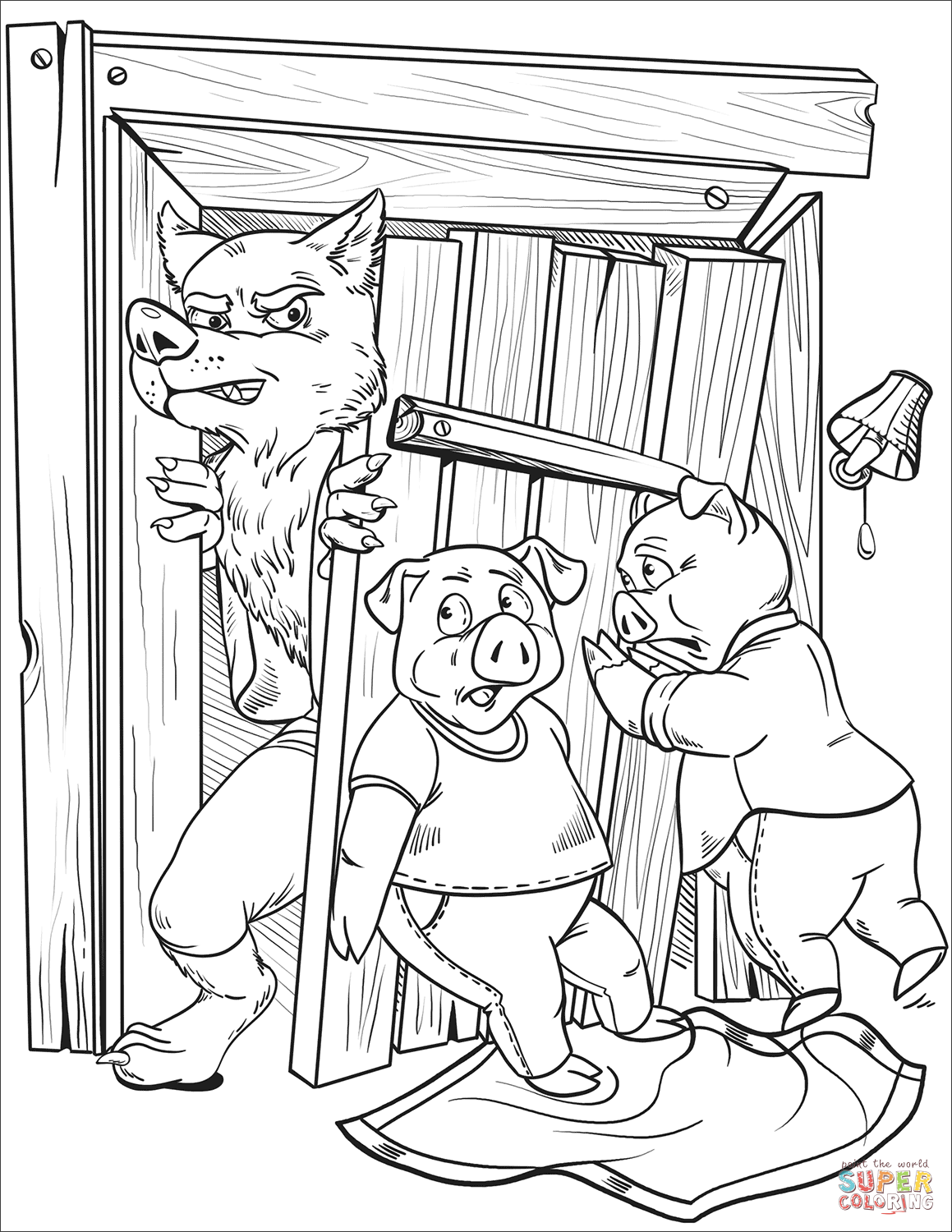The Wolf Breaks the Wood House of Patty Pig coloring page