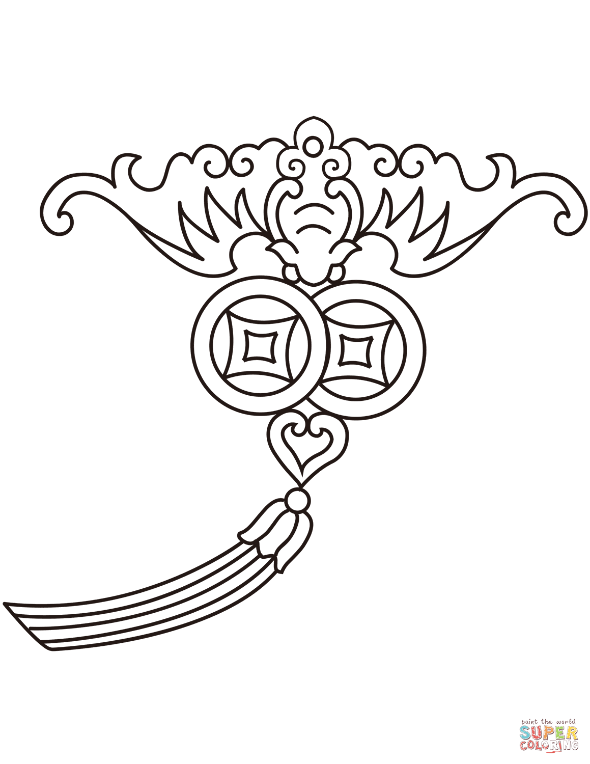Chinese Traditional Auspicious Pattern coloring page