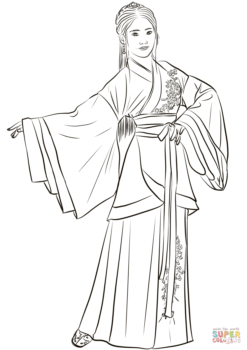 Chinese Woman in Traditional Costume Hanfu coloring page