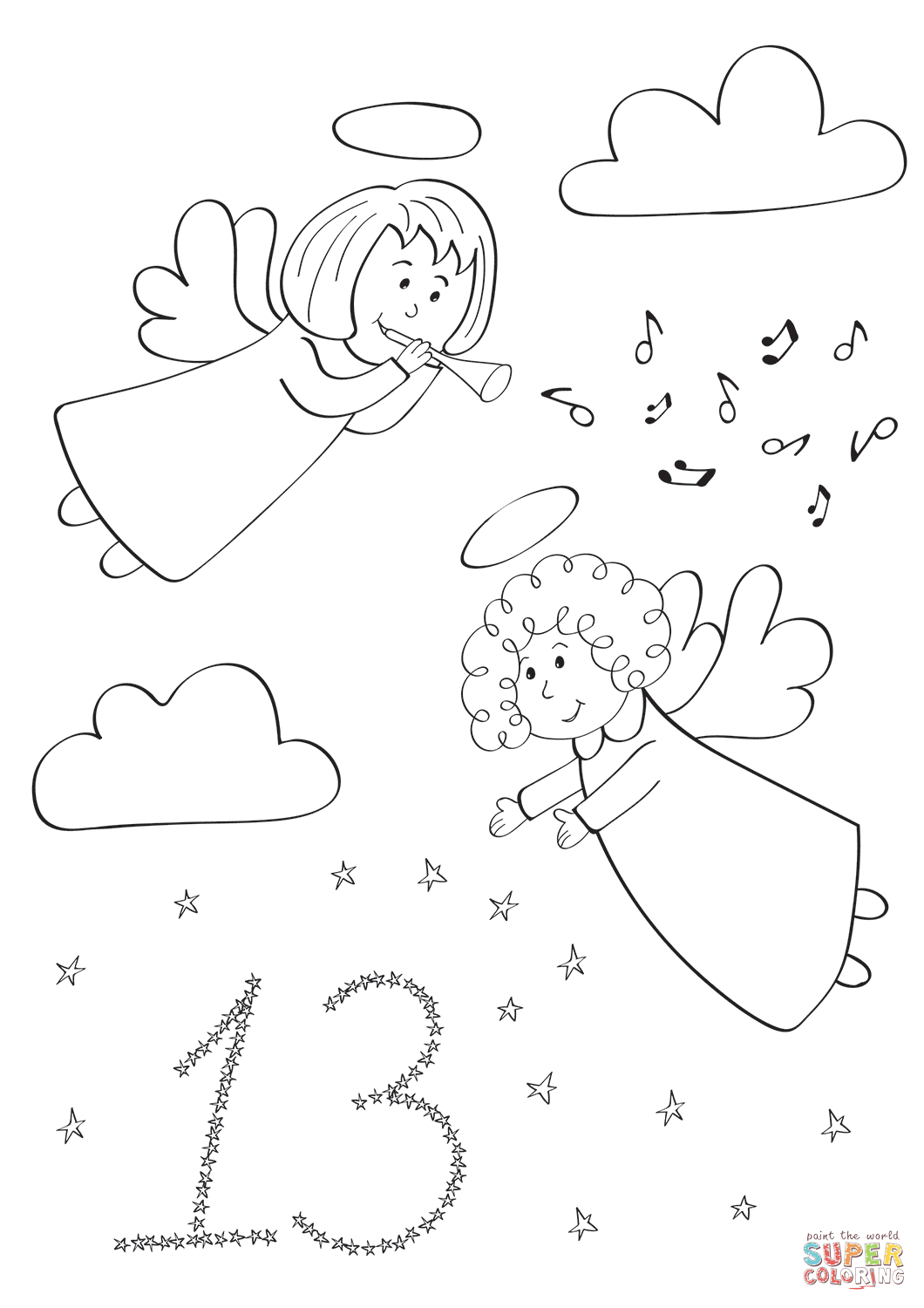December 13 With Christmas Angels In The Sky Coloring Page Free