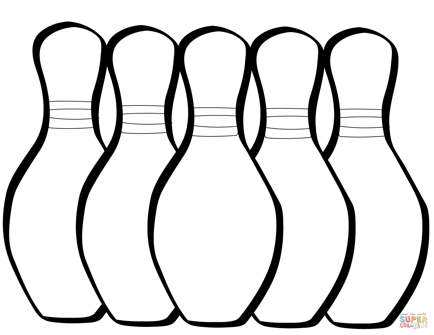 Five Bowling Pins Coloring Page
