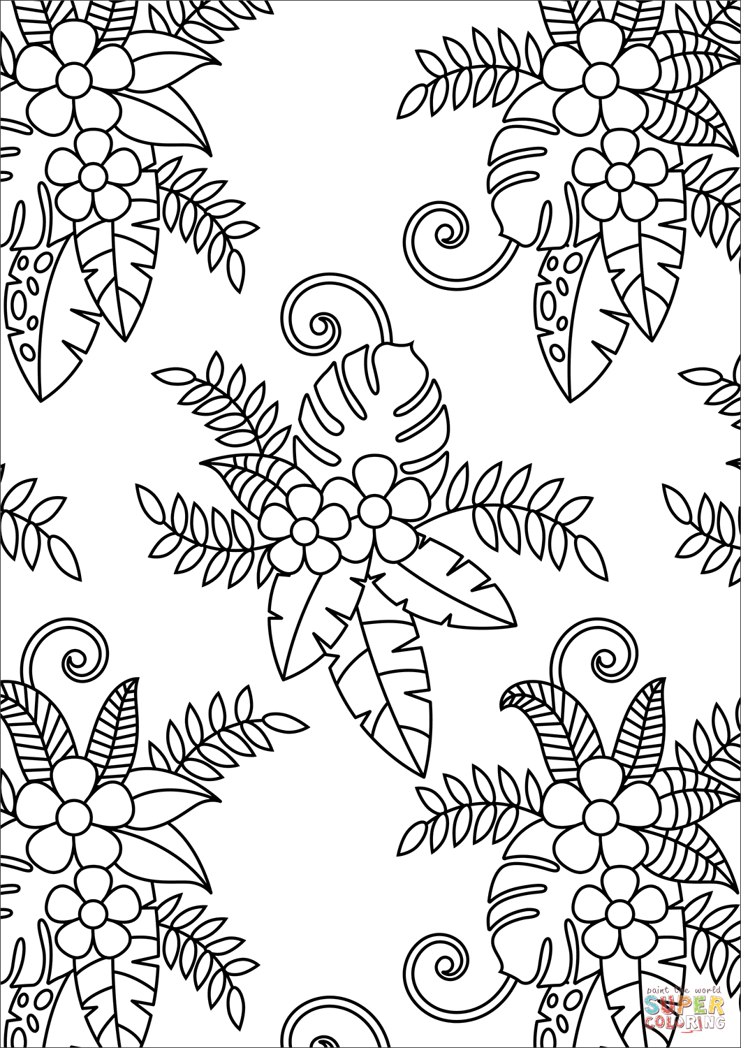 Floral Pattern Coloring Page