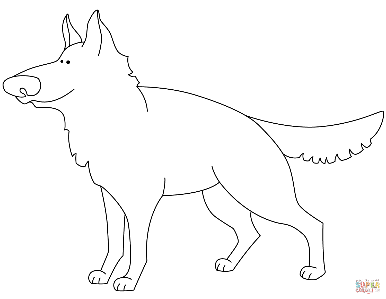Funny German Shepherd Coloring Page