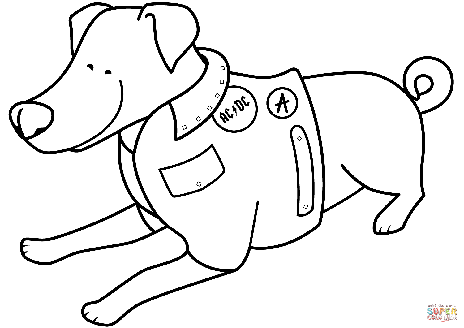 Funny Jack Russell Terrier In Ac Dc Jacket Coloring Page