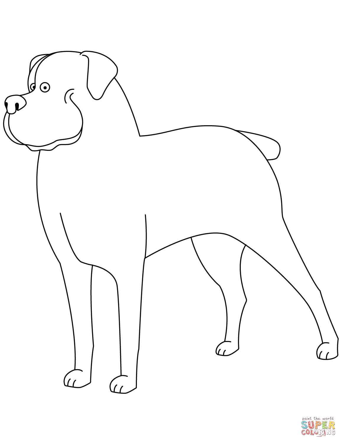 Funny Rottweiler Coloring Page