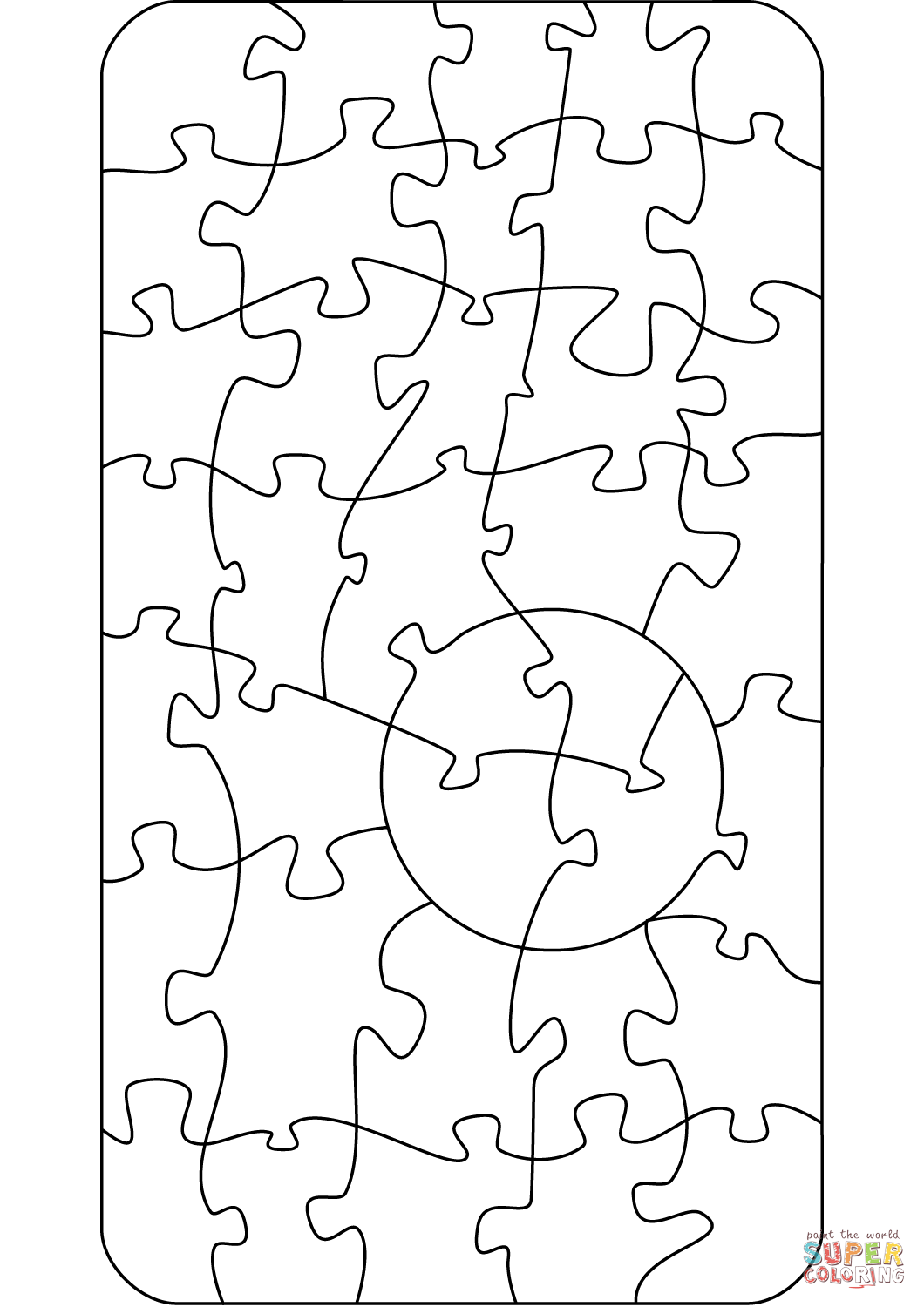 Jigsaw Pattern Coloring Page