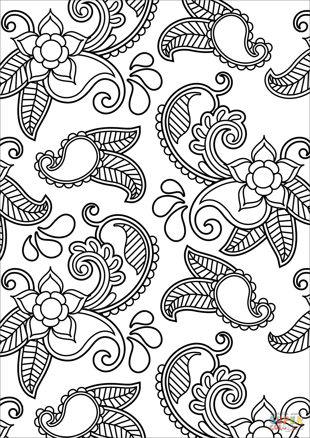 Paisley Pattern Coloring Page
