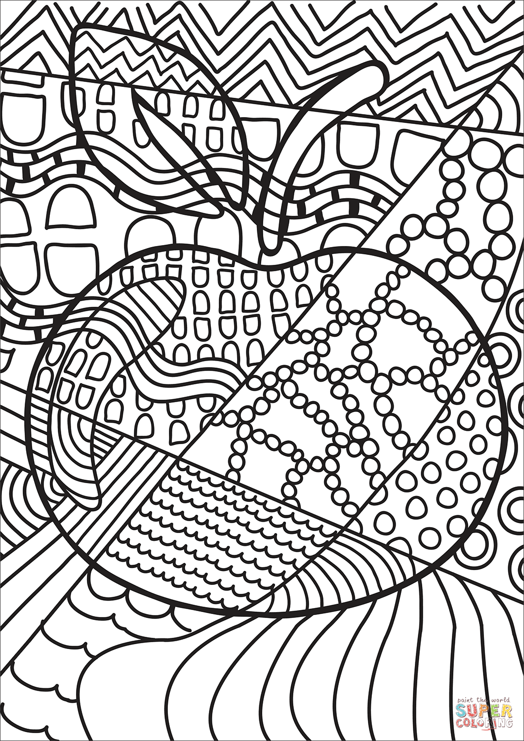 Pop Art Apple Coloring Page