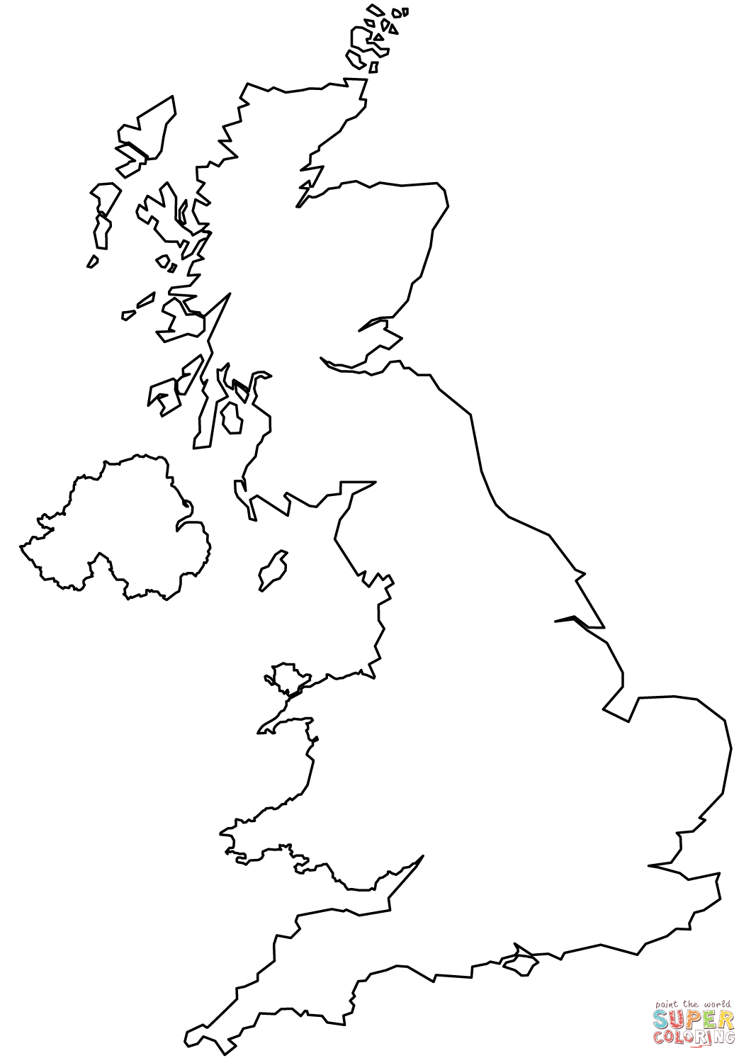 United Kingdom Blank Outline Map Coloring Page