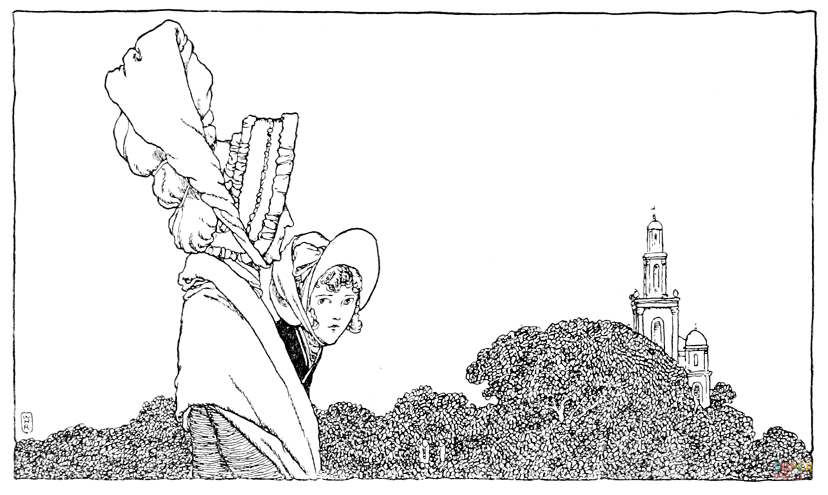 The Old Lady and Karen Walk to the Church coloring page