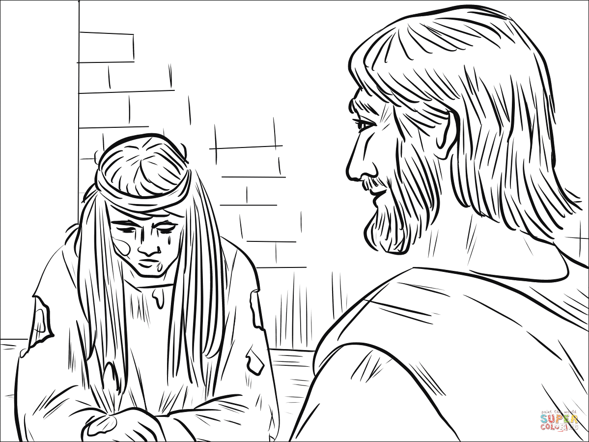 Woman Caught in Adultery (John 8:1-11) coloring page
