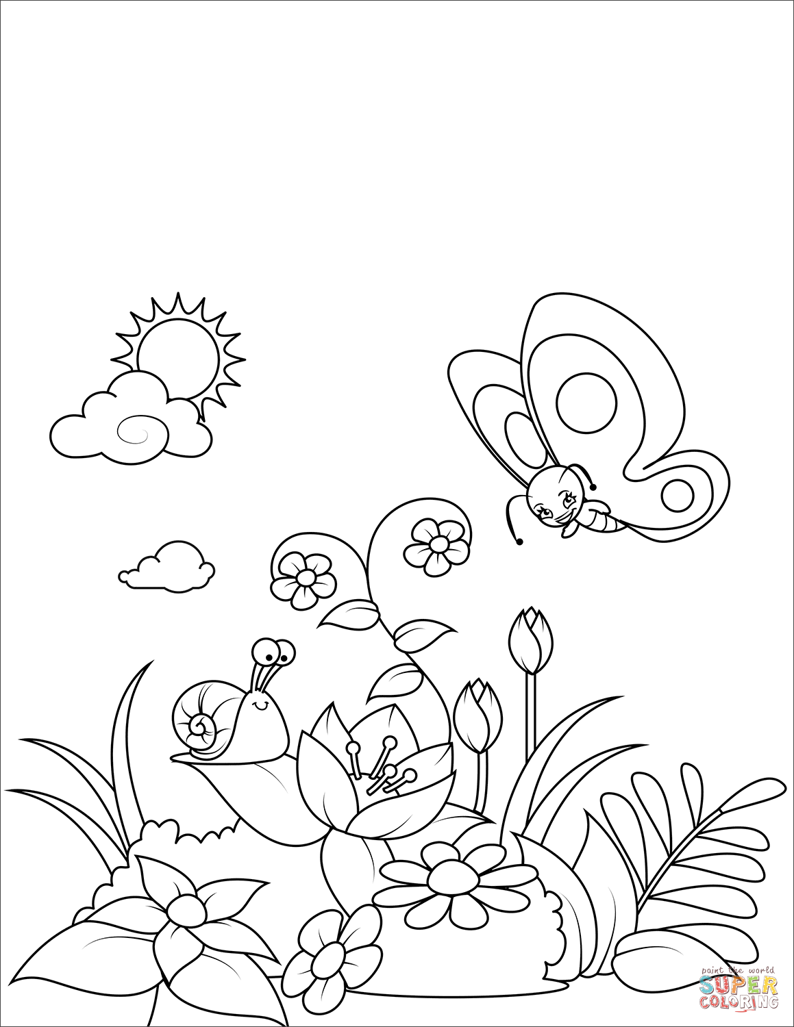 A Snail and a Butterfly on a Flowering Glade coloring page