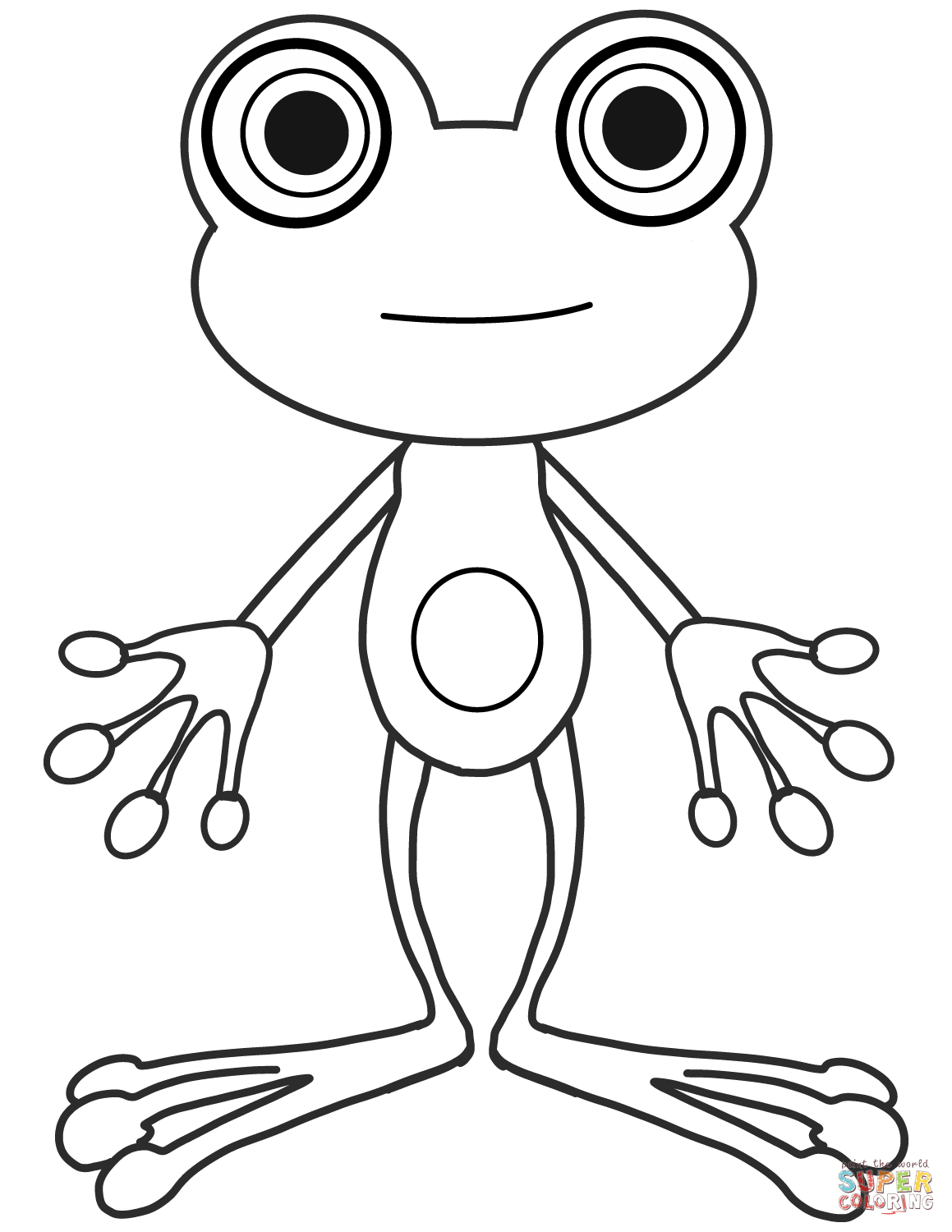 Cartoon Frog Coloring Page
