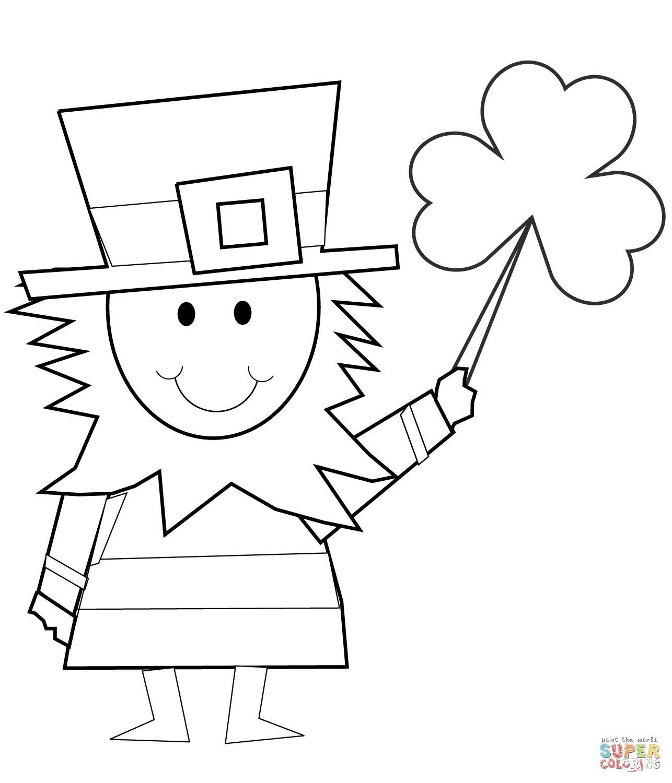 Cartoon Leprechaun With Shamrock Coloring Page Free Printable