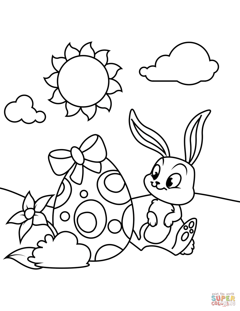cute bunny and easter egg coloring page  free printable