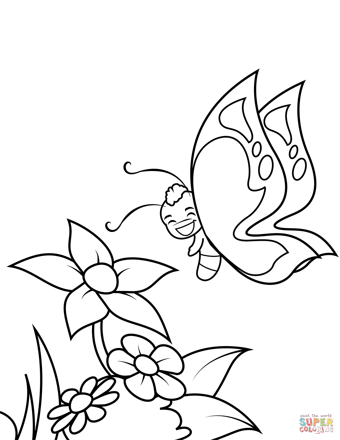 Cute Butterfly Boy Flies Over Flowers Coloring Page