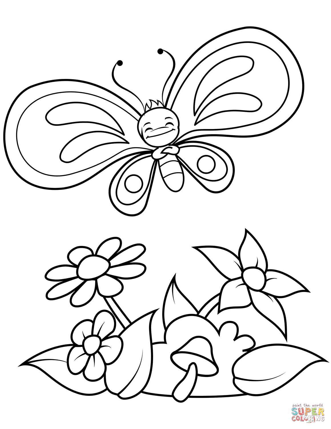 Funny Butterfly Boy Flies Over Flowers And Mushroom