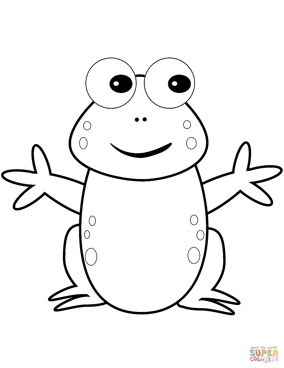 Happy Cartoon Frog Coloring Page