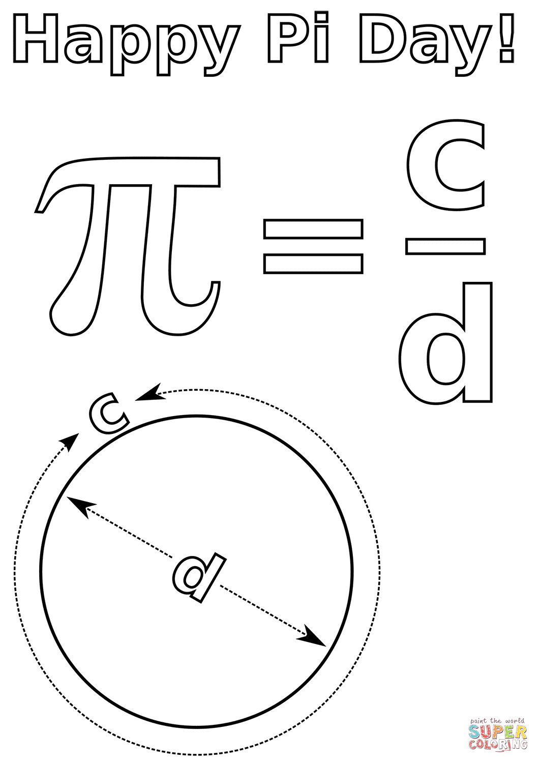 Happy Pi Day Coloring Page