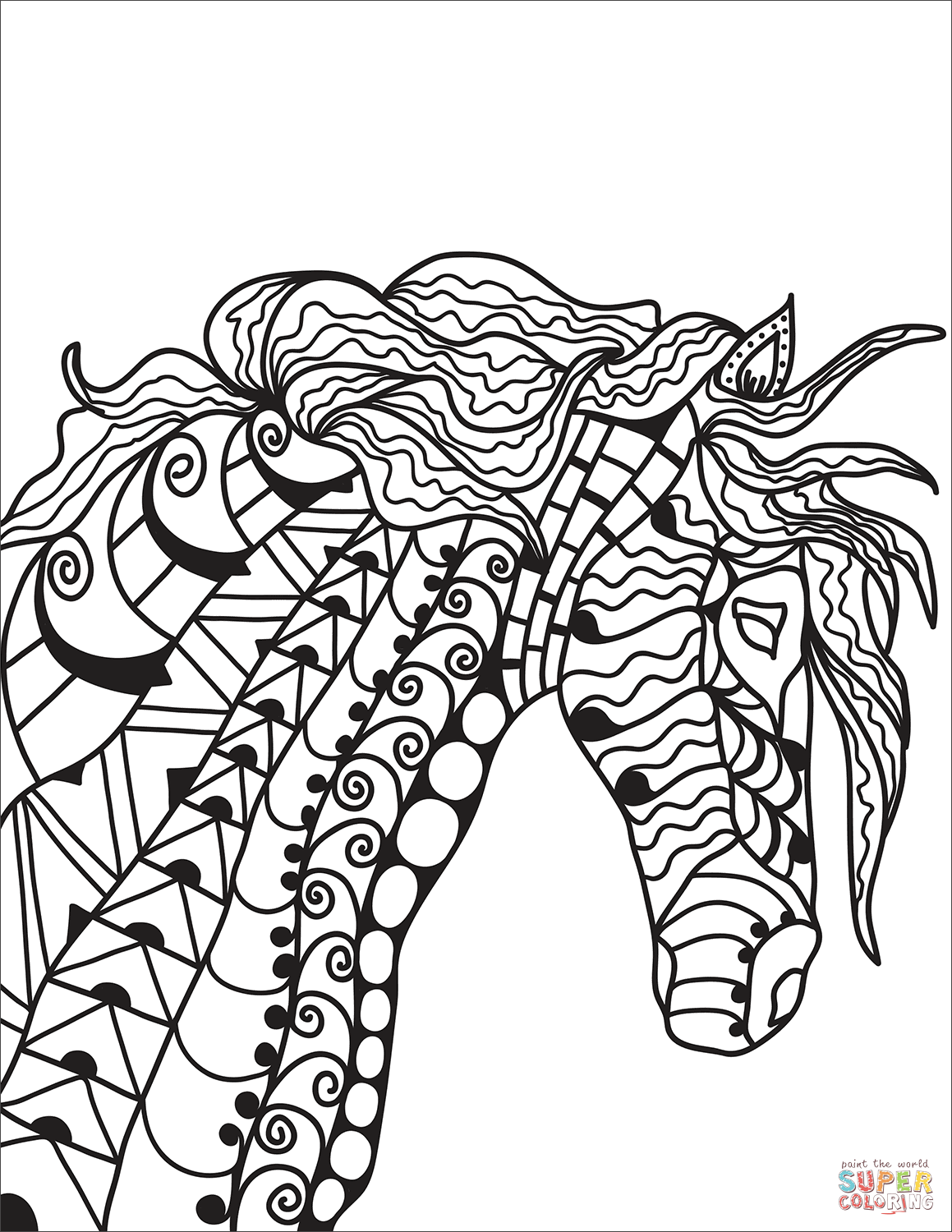 Zentangle Horse Head Coloring Page Coloring Pages