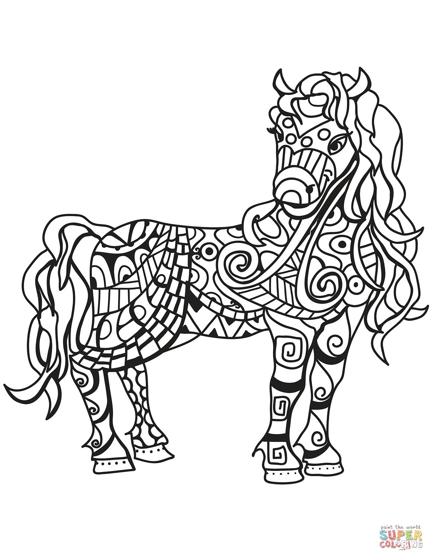 Dibujo De Caballo Zentangle Para Colorear