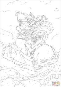 Napoleon Bonaparte crossing the Alps coloring page | Free ...