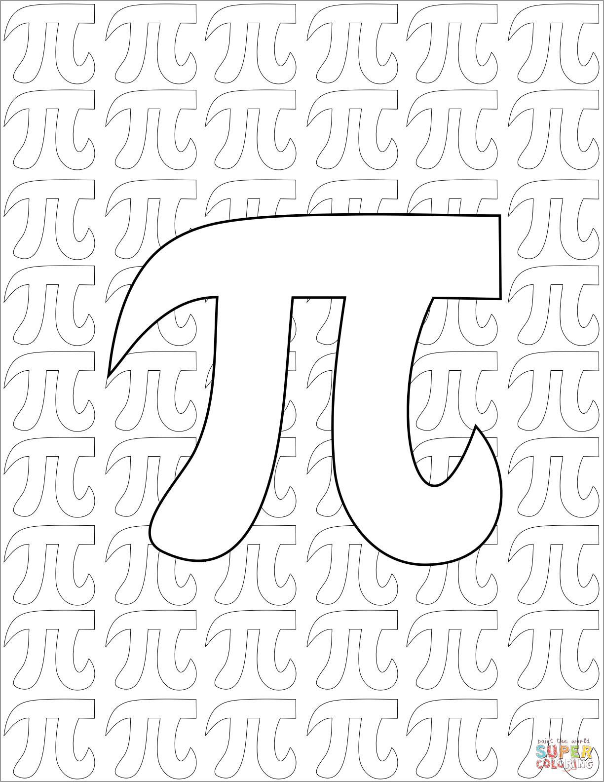Pi Day Pattern Coloring Page