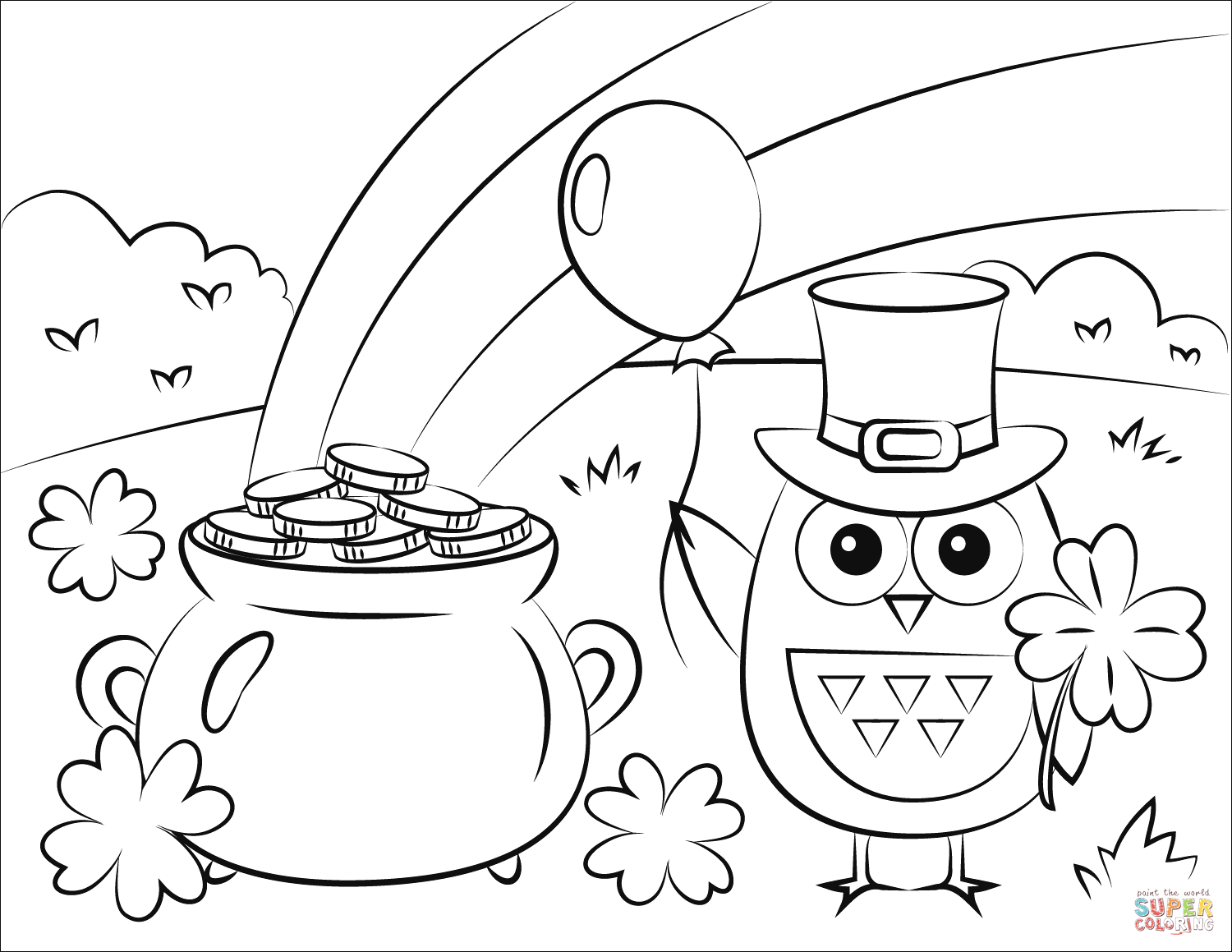 Pot Of Gold Rainbow And St Patrick S Day Owl Coloring