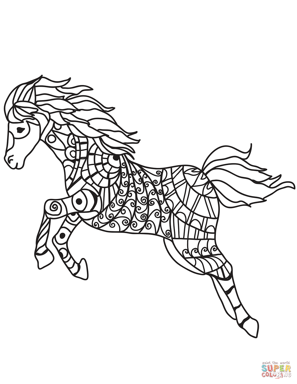 Dibujo de Caballo corriendo Zentangle para colorear