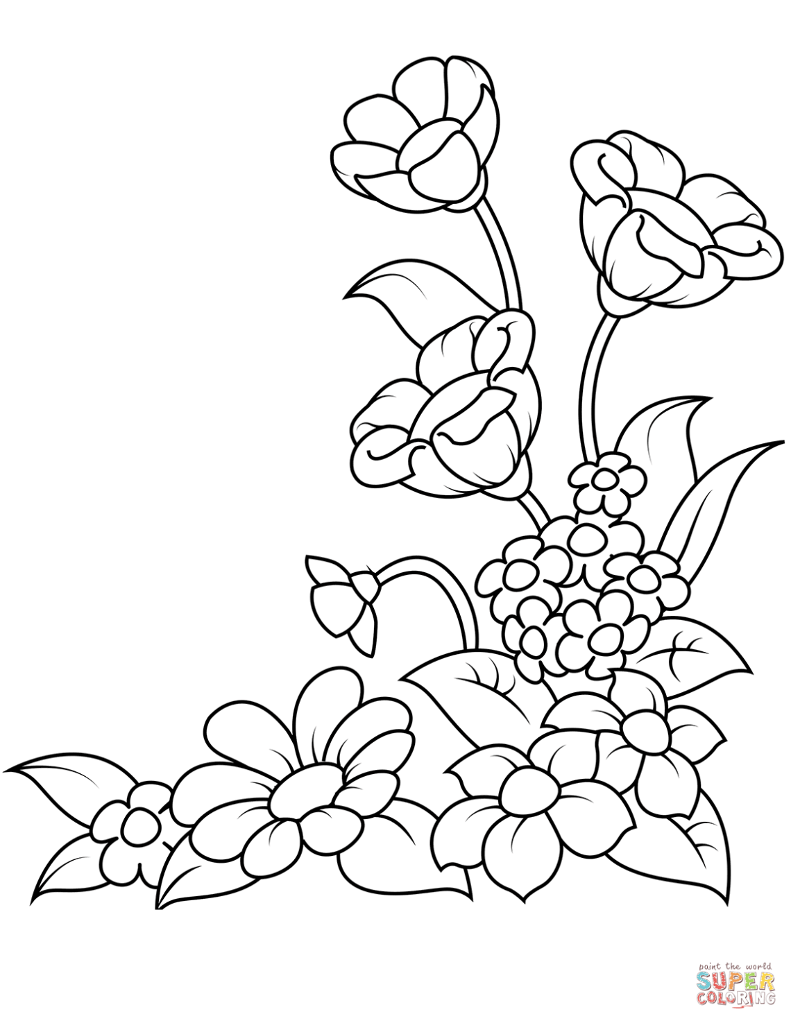 Spring Flowers coloring page | Free Printable Coloring Pages | colouring pages flowers printable