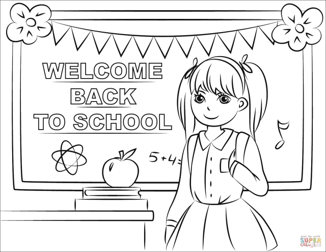 Welcome Back to School coloring page  Free Printable Coloring Pages