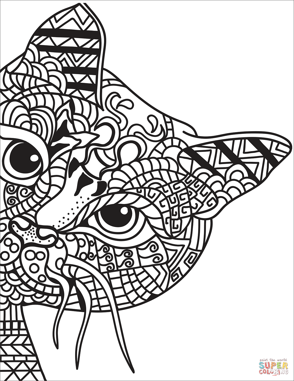 Dibujo De Gato Zentangle Para Colorear