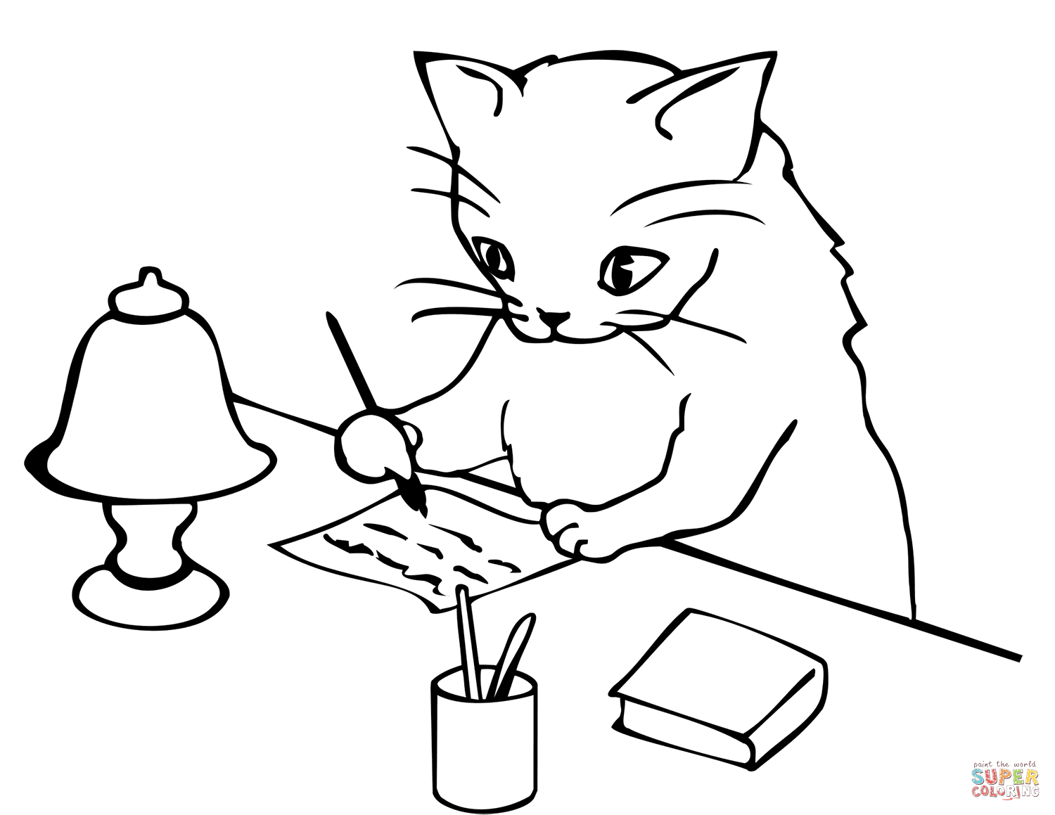 Cat Writing A Letter Coloring Page