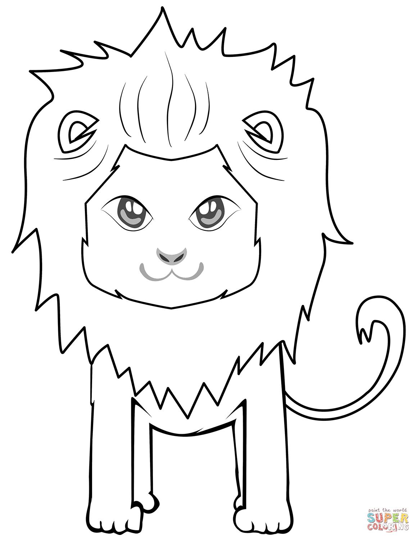 Dibujo de León lindo de dibujos animados para colorear