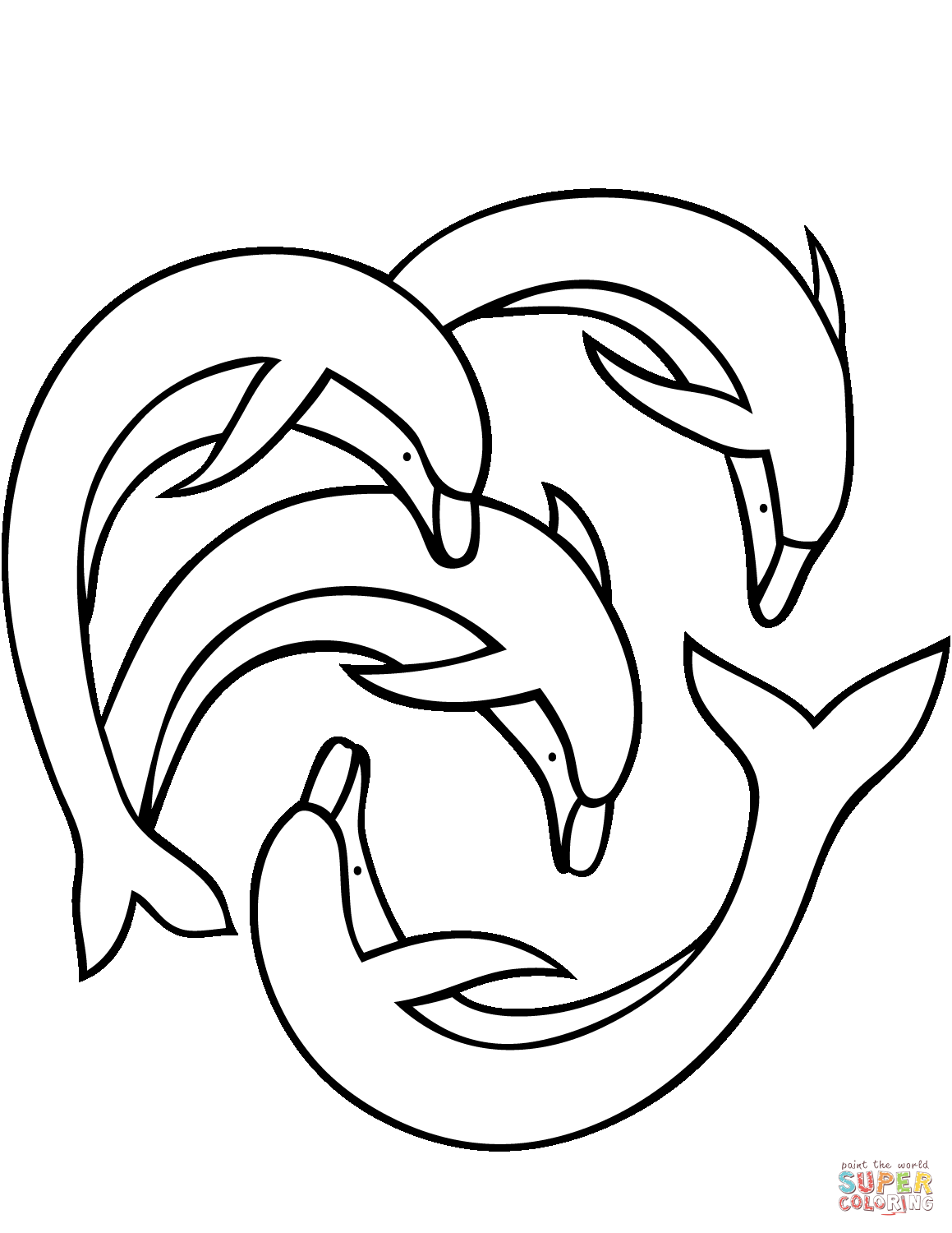 Four Dolphins Coloring Page