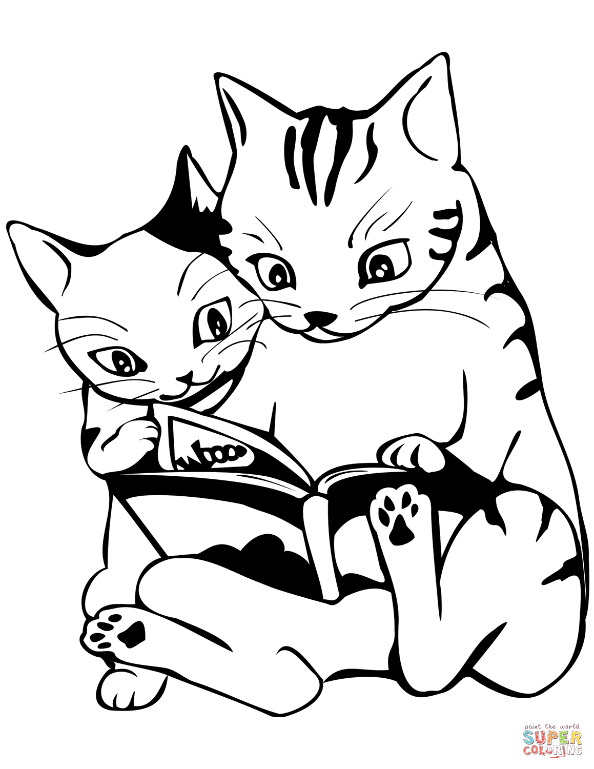 Two Cats Reading A Book Coloring Page