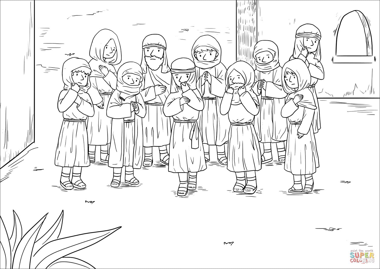 Jesus Heals Ten Men with Leprosy (Luke 17:11-19) coloring