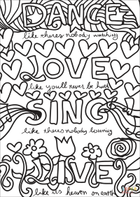Dance, Love, Sing, Live coloring page | Free Printable ...