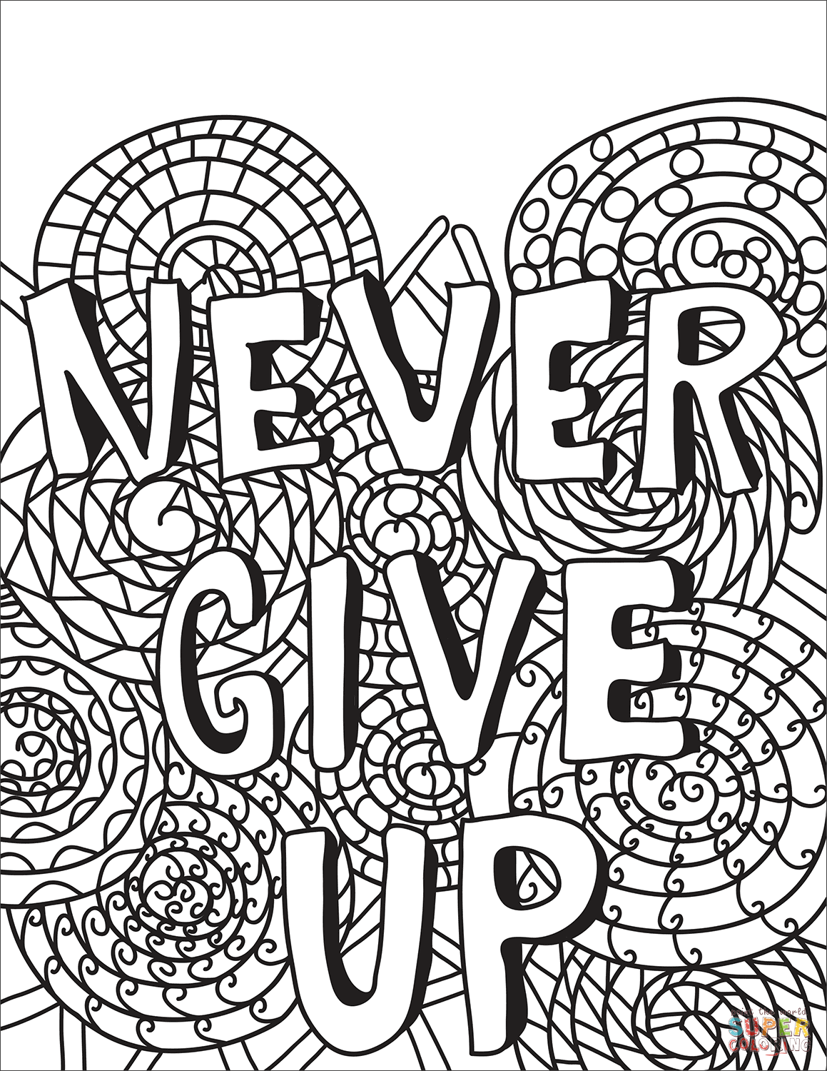 Never Give Up Coloring Page