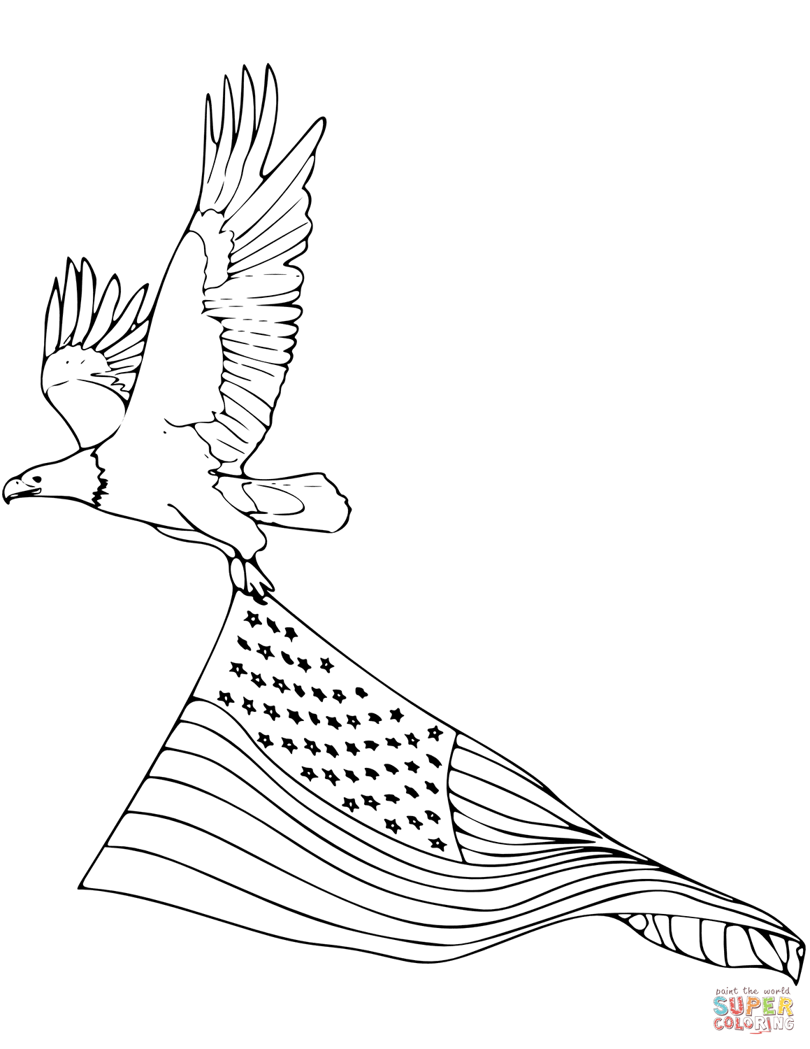 Bald Eagle Carrying American Flag Coloring Page
