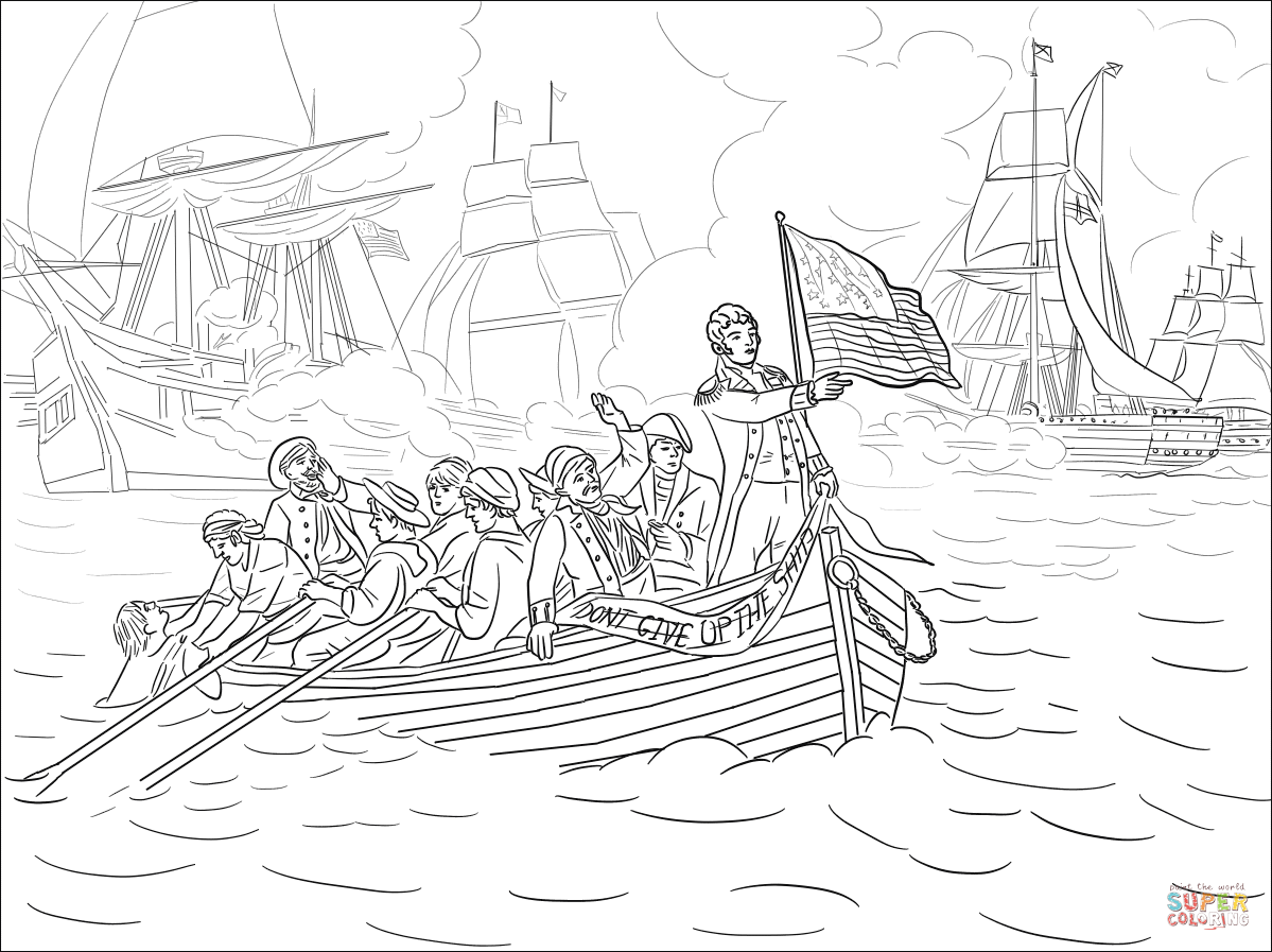 Battle of Lake Erie During the War of 1812 coloring page